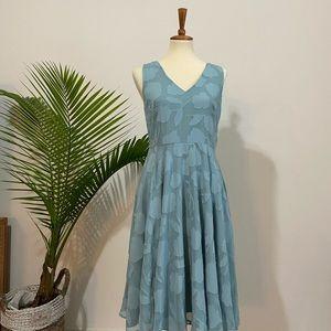 Monotone Blue Floral Texture Pattern Midi Dress